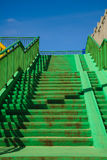 Green concrete stairs stairway with railing. Royalty Free Stock Images