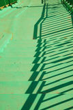 Green concrete stairs stairway with railing. Stock Photo