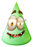 Green cone with monster face Stock Photo