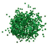 The green confetti stars Stock Photo