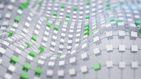 Green connected displaced grid 3D render. Green connected displaced grid. Abstract science fiction 3D render concept stock illustration