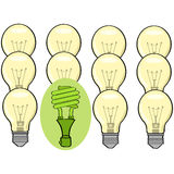 Green conscience. Concept illustration showing a green fluorescent lamp standing out among regular incandescent ones royalty free illustration