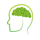 Green conscious brain icon design Royalty Free Stock Image