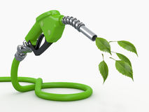Green conservation. Gas pump nozzle and leaf. 3d vector illustration