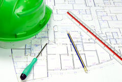 Green Construction Hat Stock Photo