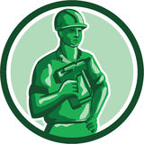 Green Construction Worker Nailgun Circle Retro Royalty Free Stock Photos