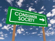 Consumer society sign. A green consumer society sign with the sky in the background stock photos