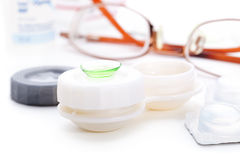 Green contact lense Royalty Free Stock Image