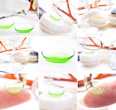 Green contact lenses Royalty Free Stock Image