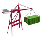 Green Container Being Hoisted By A Crane. Royalty Free Stock Photography