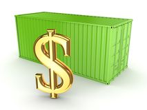 Green container and dollar sign. Stock Image