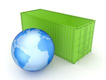 Green container and Earth. Stock Image