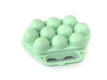 Green container for egg. On white background Royalty Free Stock Images