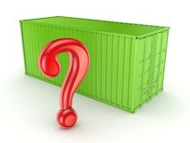 Green container and query mark. Royalty Free Stock Image