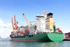 Green container ship Stock Photos