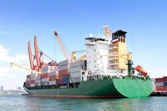 Green Container Ship Stock Photos