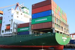 Green container ship Stock Image
