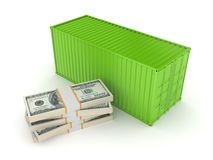 Green container and stack of dollars. Royalty Free Stock Image