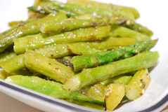 Green cooked asparagus Royalty Free Stock Image