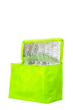Green cooling bag with zipper Stock Photo