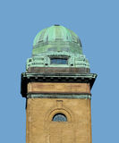Green copper dome on brick tower Royalty Free Stock Photos