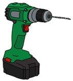 Green cordless drill. Hand drawing of a green cordless drill Royalty Free Stock Photos