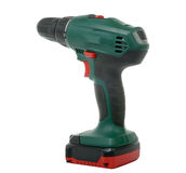 Green cordless drill Stock Photo