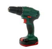 Green cordless drill Stock Photos
