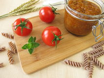 Green core bolognese in jar Stock Images
