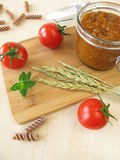 Green core bolognese in jar Royalty Free Stock Photography