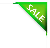 Green corner ribbon with sale sign Royalty Free Stock Photos