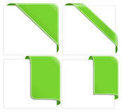 Green corner ribbons. Set of Green corner ribbons stock illustration