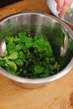 Green Cornsalad. Mache salad lettuce field corn royalty free stock image
