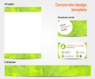 Green corporate design template set Stock Photos