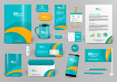 Green corporate identity template with orange element. Best for travel, hotel company Stock Photography