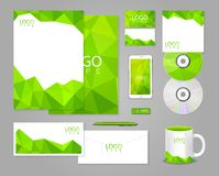Green corporate identity template with polygons Royalty Free Stock Photo