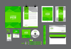 Green corporate identity template for your business. Includes CD Cover, Business Card, folder, ruler, Envelope and Letter Head Designs stock illustration