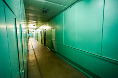 Green corridor at the factory Royalty Free Stock Photography