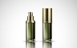 Green cosmetic bottles Stock Photo