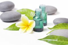 Green cosmetic bottles with zen stones and frangipani flower. Isolated on white royalty free stock image