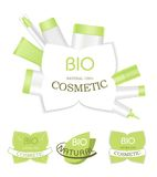 Green cosmetic lables Royalty Free Stock Images