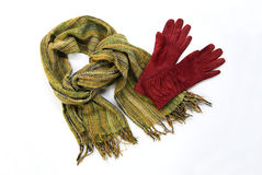 Green cotton scarf with brown gloves Stock Image