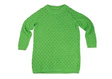 Green cotton sweater. Isolate on white Stock Image