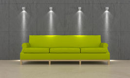 Green couch. Green modern couch in interior room Stock Photos