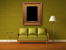 Green couch, table and standard lamp Royalty Free Stock Photo