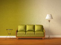 Green couch with table and standard lamp Royalty Free Stock Photos