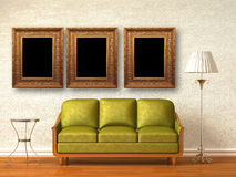 Green couch, table and standard lamp with frames Stock Image