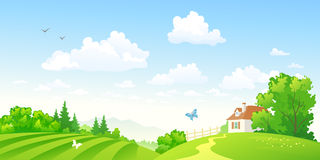 Green countryside. Illustration of beautiful green hilly countryside Stock Photos
