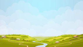 Green countryside view illustration. Royalty Free Stock Images