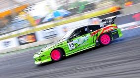 Green Coupe drifting at Formula Drift 2010 royalty free stock image